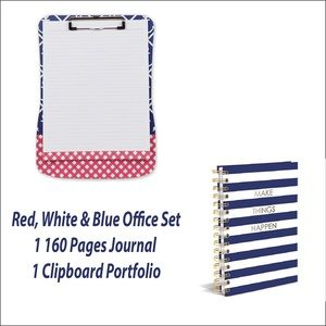🎁Only 1 LEFT! Clipboard & Journal Red White Blue.